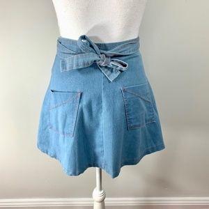 Vtg 70s Denim Wrap High Waist Skirt